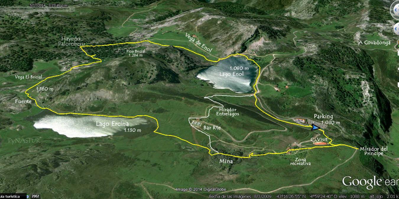 Mapa 1 ortográfico Ruta circular a Los Lagos de Covadonga