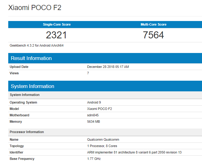 The Geekbench score of Poco f2