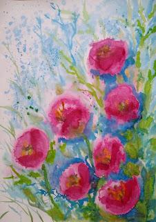 watermedia painting flowers poppys akvarell maal lilled moonid keiu kuresaar
