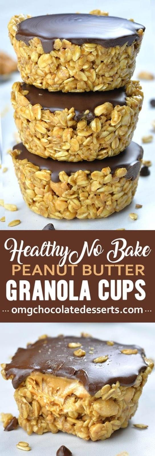 No Bake Peanut Butter Granola Cups