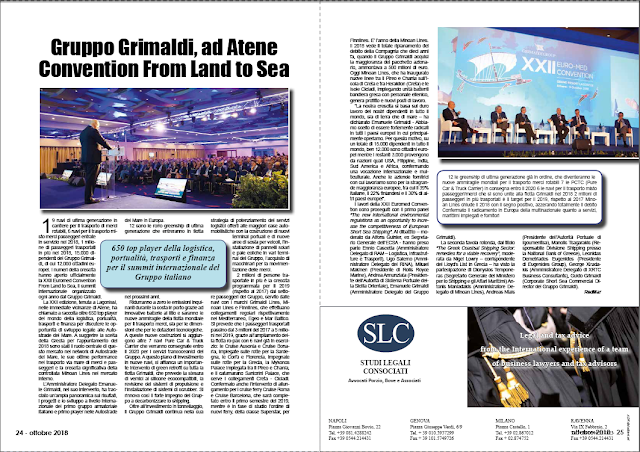 OTTOBRE 2018 PAG.24 - Gruppo Grimaldi, ad Atene Convention From Land to Sea