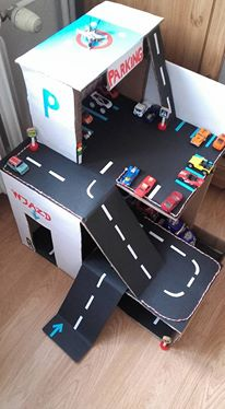 Handmade cardboard parking for cars DIY / zabawka parking z kartonu