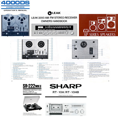 Instruction booklets: Akai 4000DS, Leak 3200, Wharfedale XP, Sansui SR-222, Sharp RT-10
