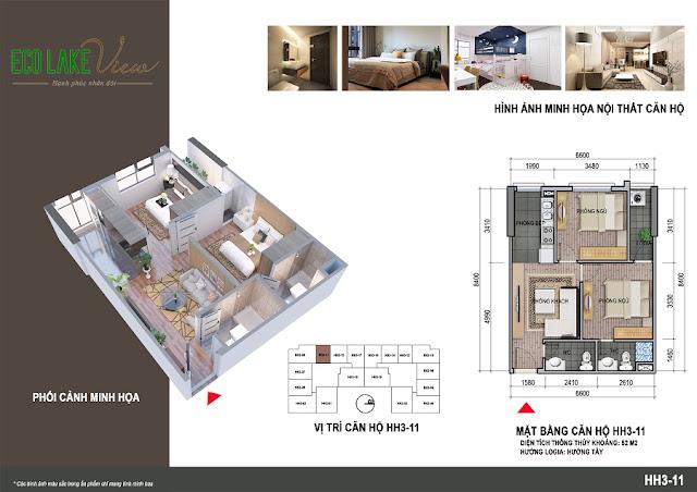 Thiết kế căn hộ 06 tòa HH-3 chung cư Eco Lake View
