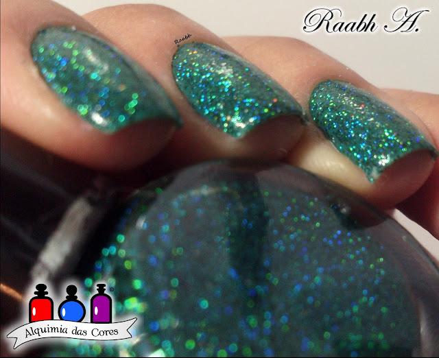Unhas, Pigmentos, Glitter Galaxy Holo Teal, Teal, Glitter Holográfico, dupe, Moyou Pro 06, Raabh A., Vult, Canto da Sereia, Seche Vive, Holo Nails,