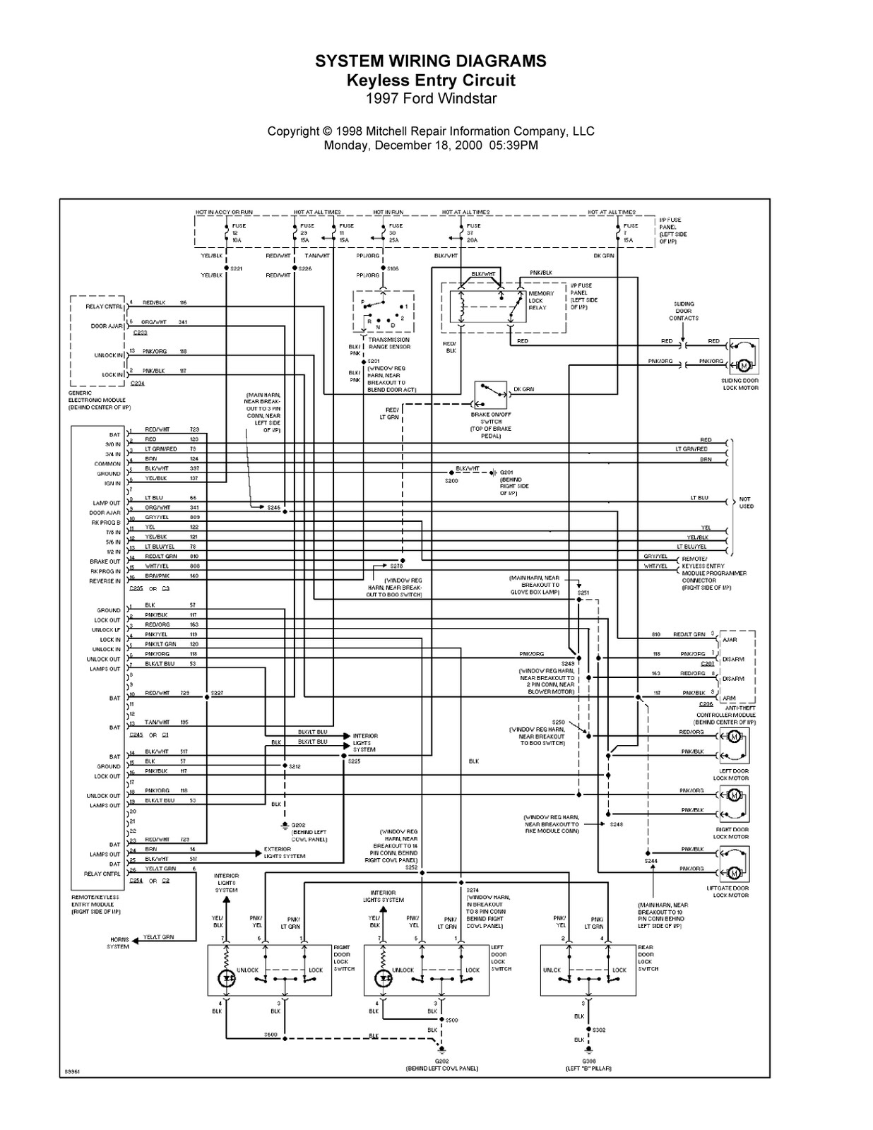 1997 ford windstar complete system wiring diagrams ... 1997 ford windstar fuse box diagram