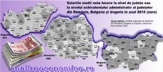 Topul județelor din România, Ungaria și Bulgaria după salariile nete