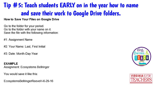 Teaching students to save work on Google Drive so it stays organized