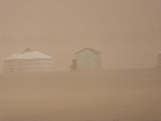 A dust storm in Mongolia's Gobi Desert
