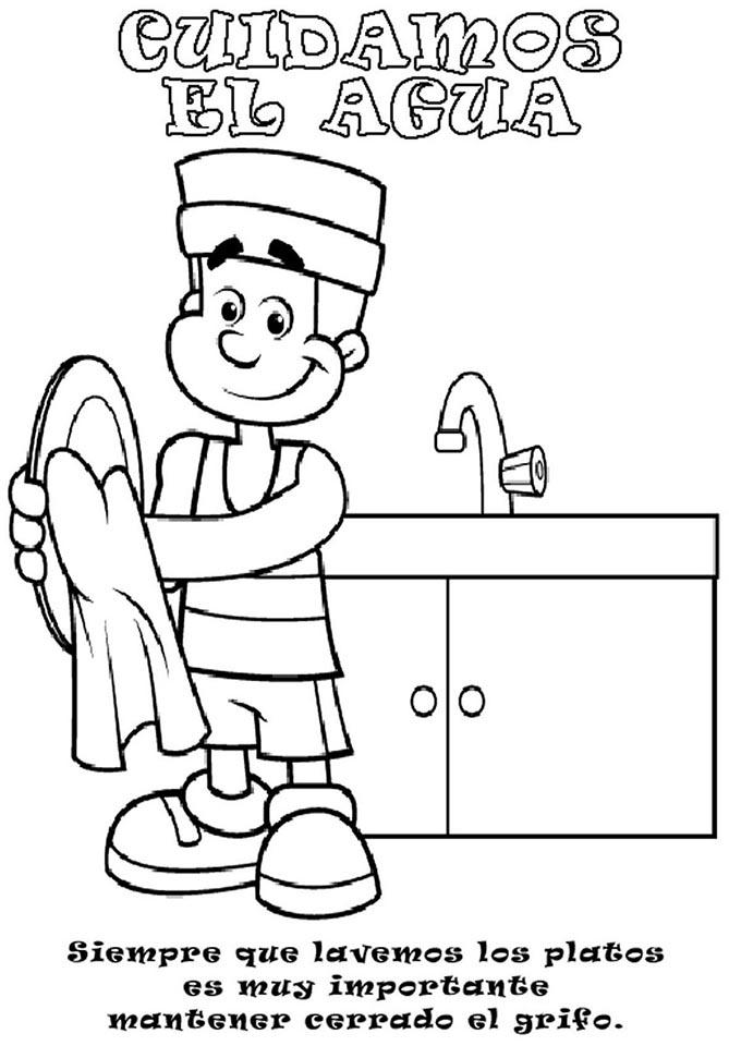 lavar platos colorear