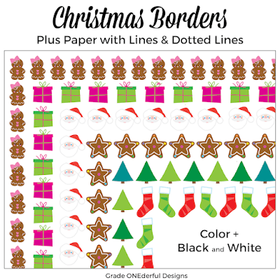 Super cute Christmas borders clip art. Perfect for jazzing up you Christmas letters, classroom sheets or teacher products! #gradeonederful #christmasclipart #christmasbordersclipart