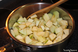 Apples in pan for applesauce