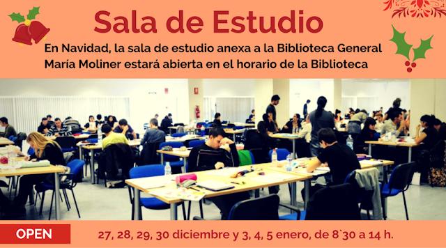 Horario de la Sala de Estudio de la Biblioteca General María Moliner.