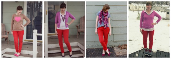 red pants with pink - 4 outfit ideas | www.shealennon.com