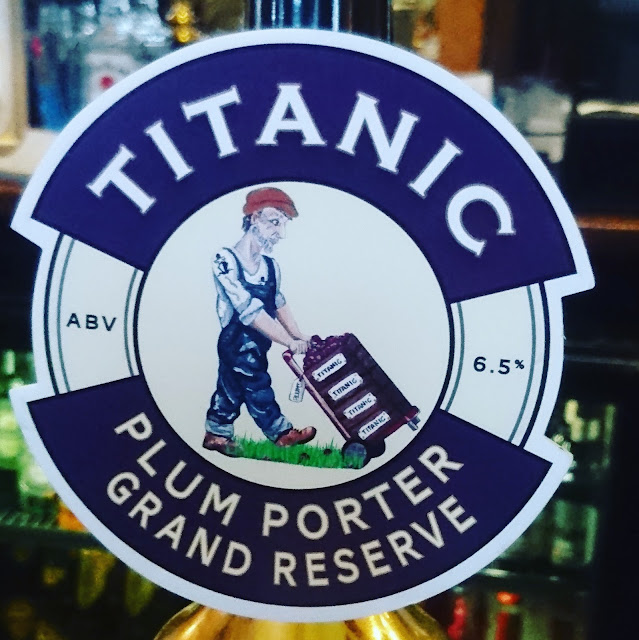 Plum Porter Grand Reserve from Titanic real ale craft beer pump clip