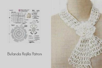 Bufanda Cuello Rejilla Crochet Patron