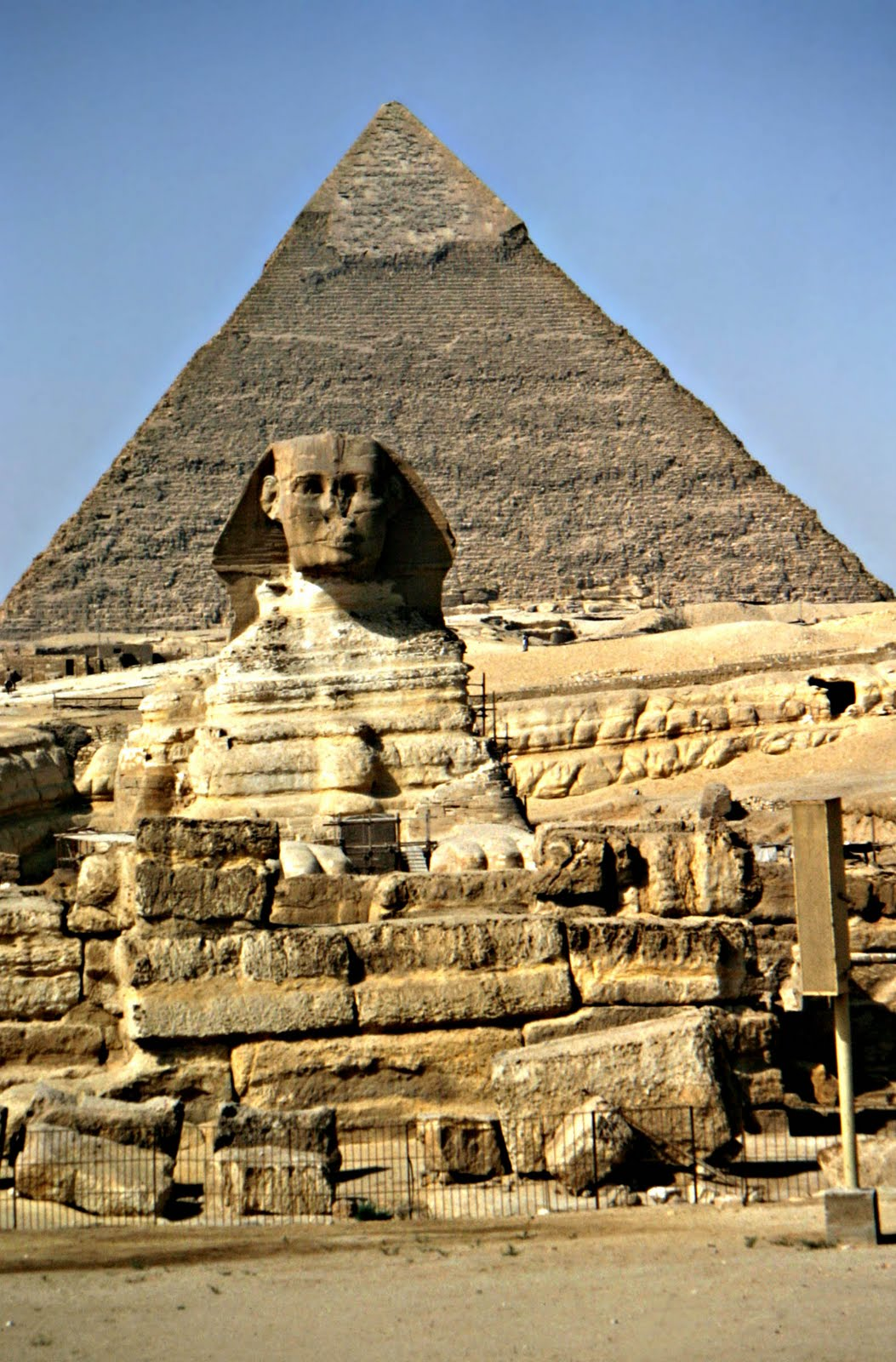 Egyptian Pyramids And Great Sphinx Of Giza And Cheops
