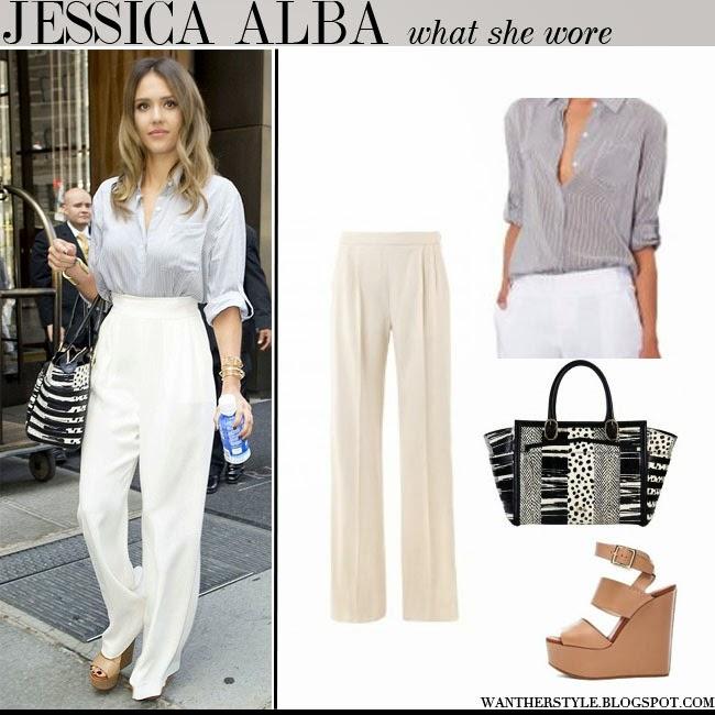 02bb1b28c782 Jessica Alba in stripe blouse, cream wide trousers max mara daphne, black  and white
