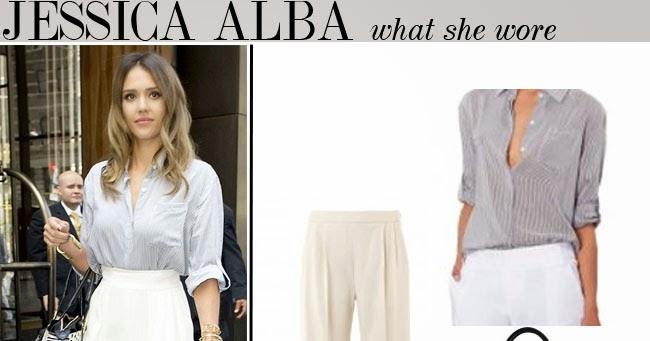 What She Wore Jessica Alba In Stripe Blouse With Cream