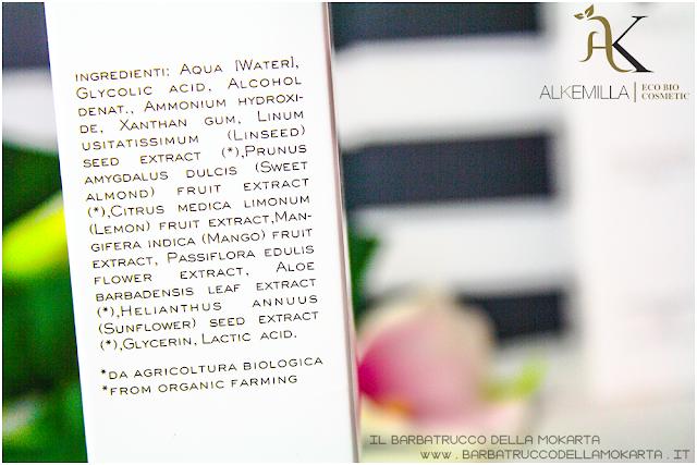 maschera viso 24 review trattamento acido glicolico GLYCOLICA alkemilla cosmetics