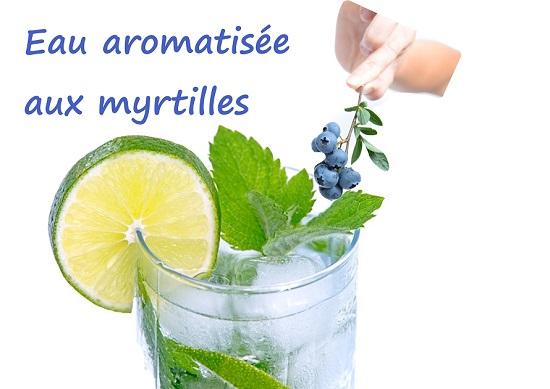 eau aromatisée myrtilles citron romarin ou menthe, sans sucre, sans conservateurs