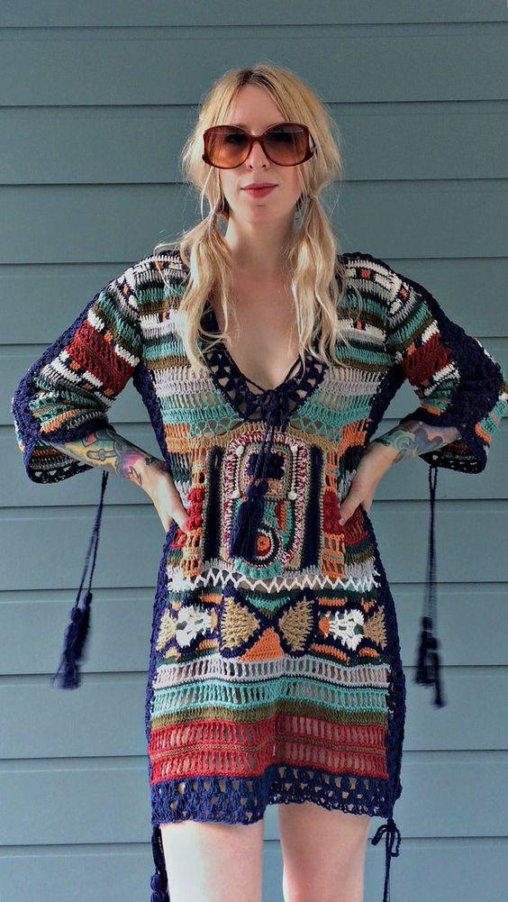 sukienka szydelkiem w celtyckie wzory