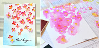 Watercolour under die cuts