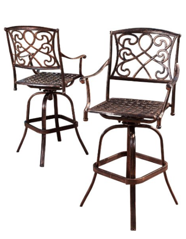 Nipomo Aluminum Swivel Bar Stools Set of 2