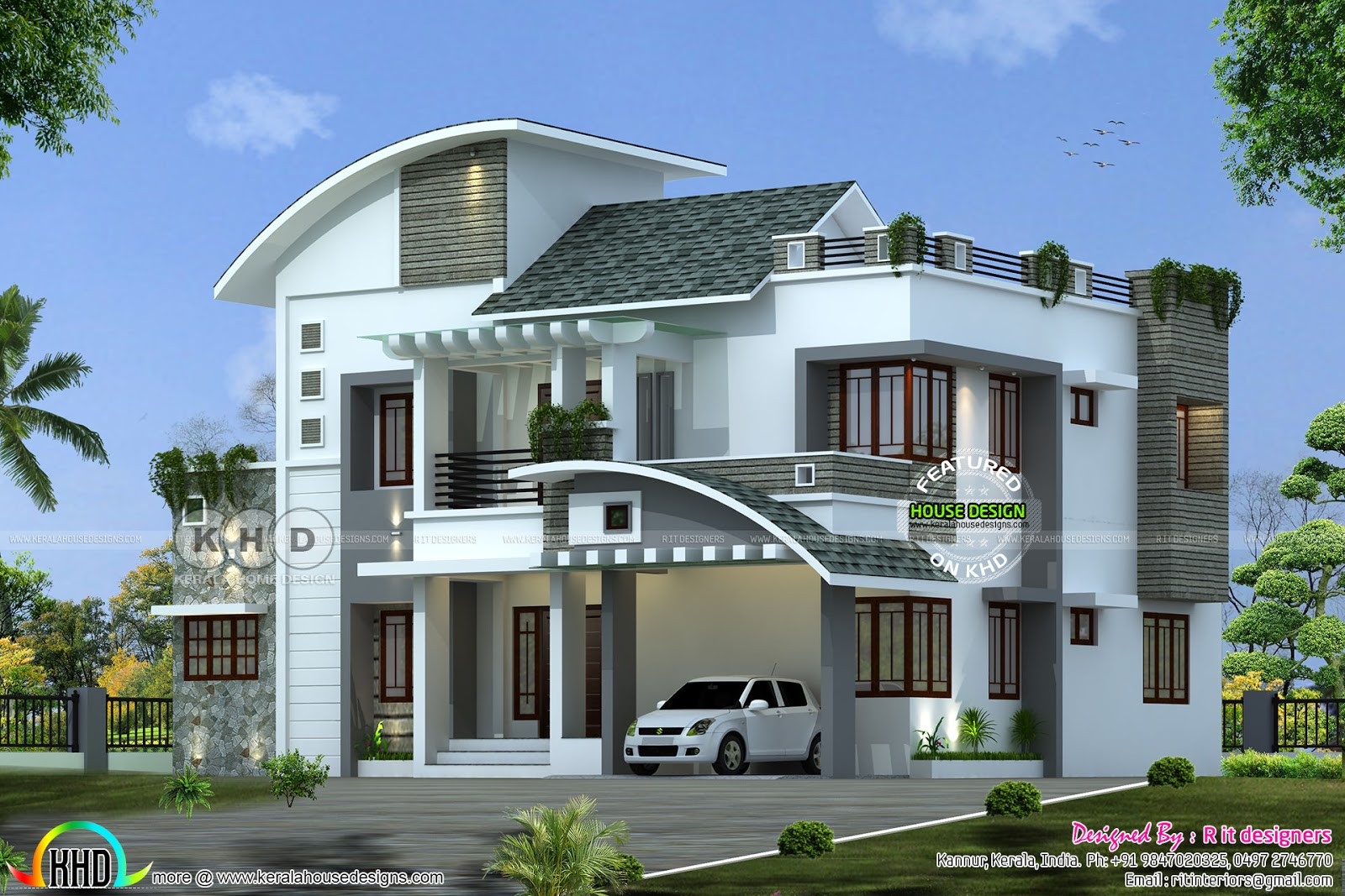 66 lakhs cost estimated 3111 sq ft home kerala home for Home designs com