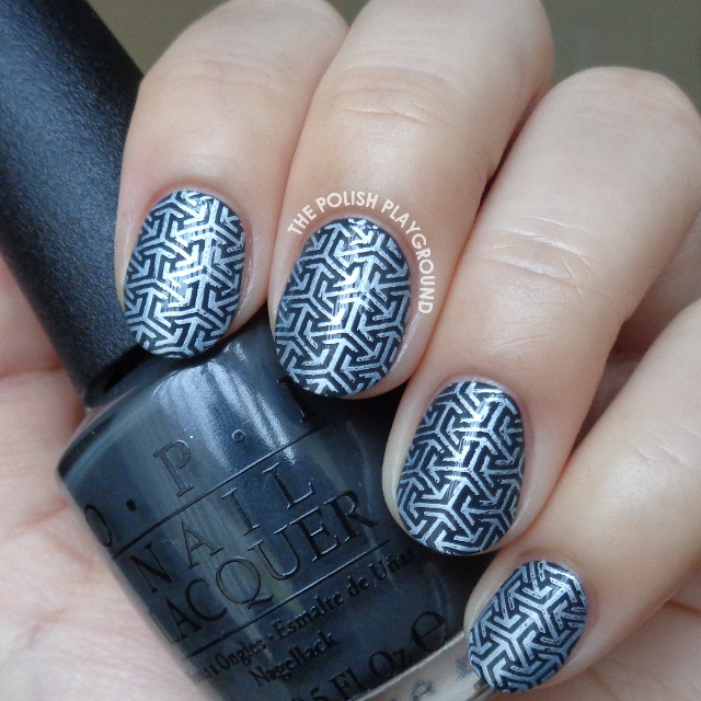 Dark Green Grey and White Arrows Stamping Nail Art