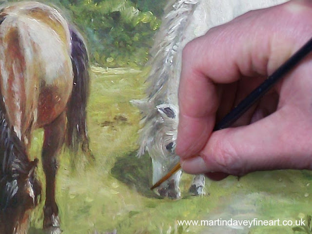 artist close up painting horses Davey