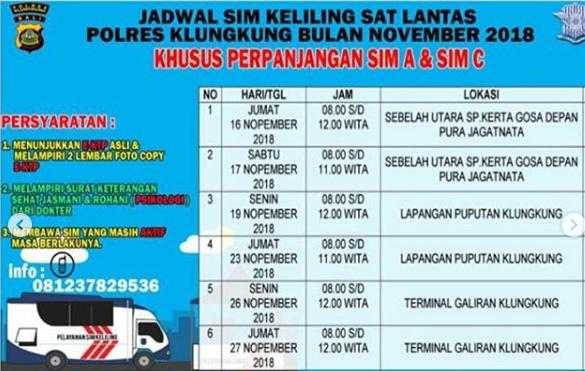 Jadwal Sim Keliling Klungkung November 2018 Sim Keliling