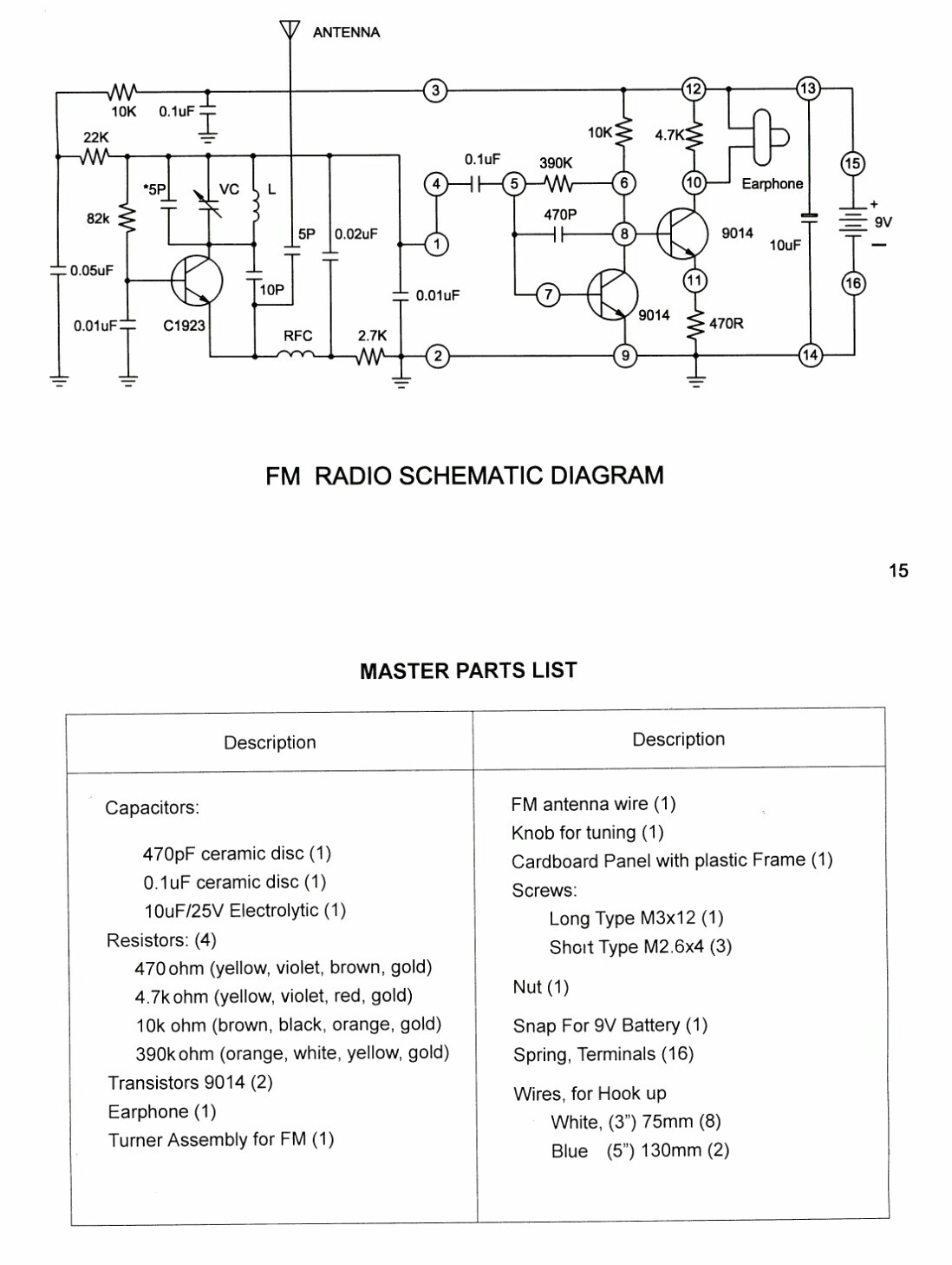 Simple Fm Receiver Circuit Diagram Electronic Kits Diagrams For This Time I Will Share The Scheme From Kit Of 90s And Is Quite Easy To Make Because It Uses Only