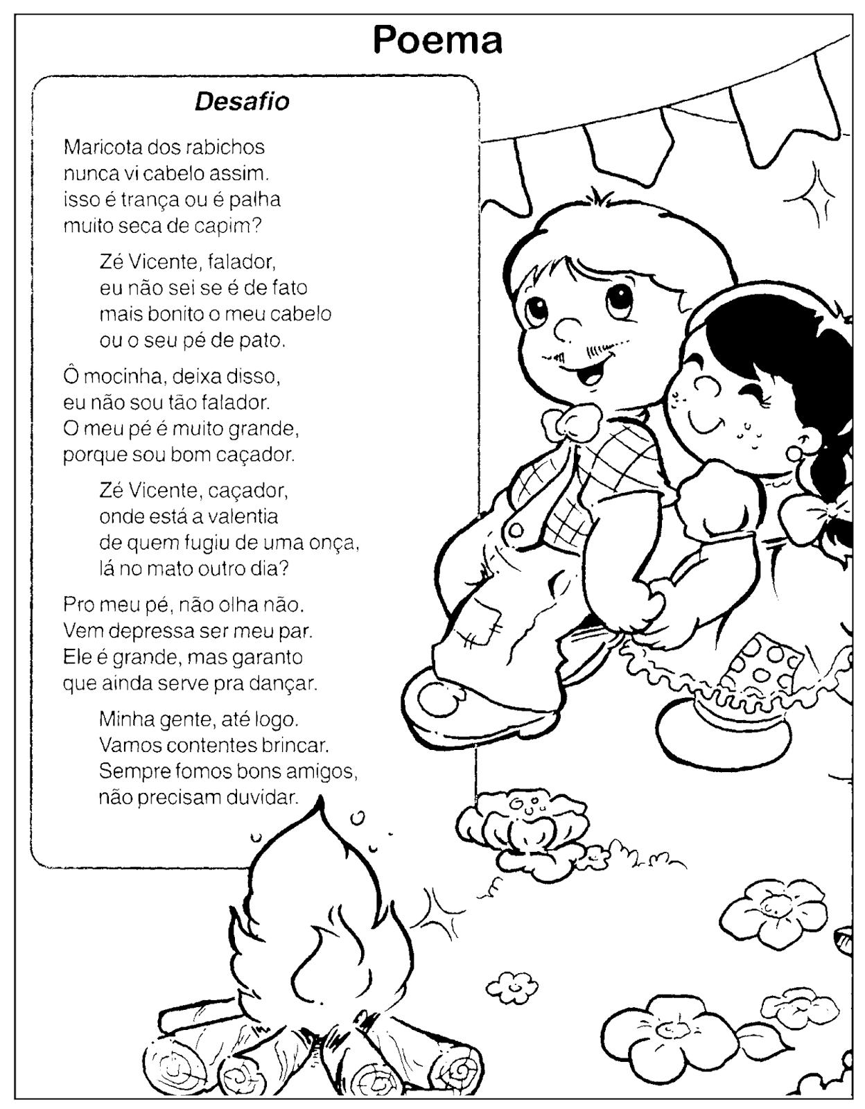 Poemas Sobre Festa Junina Com Desenhos Para Colorir So Escola