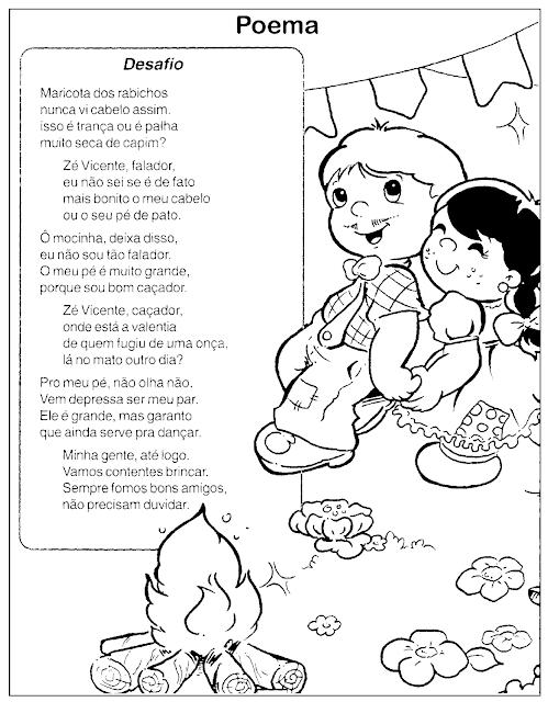 Poemas sobre Festa Junina com desenhos para colorir - o DESAFIO