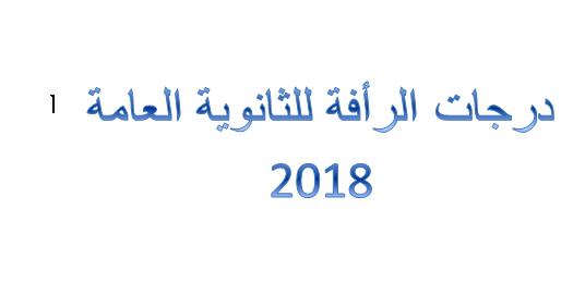 درجات الرأفة للثانوية العامة 2018