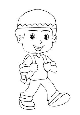 Gambar untuk mewarnai anak muslim - 2
