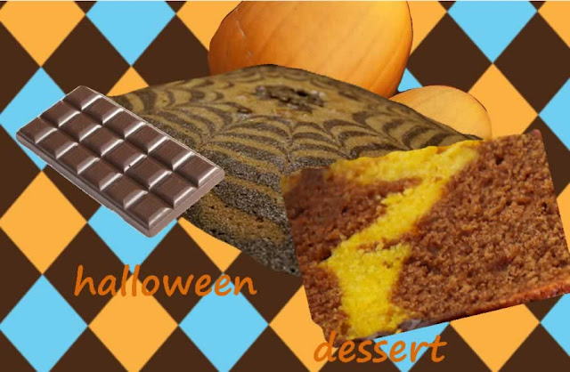 gâteau pour Halloween chocolat, citrouille, courge, potiron, potimarron