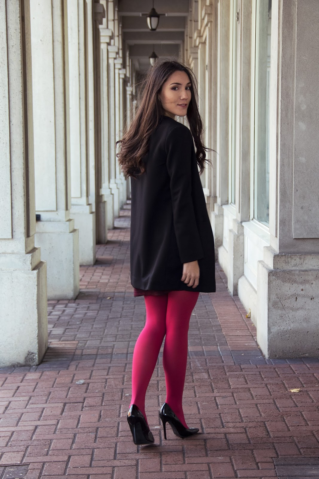 A Pop of Color with Pink Tights