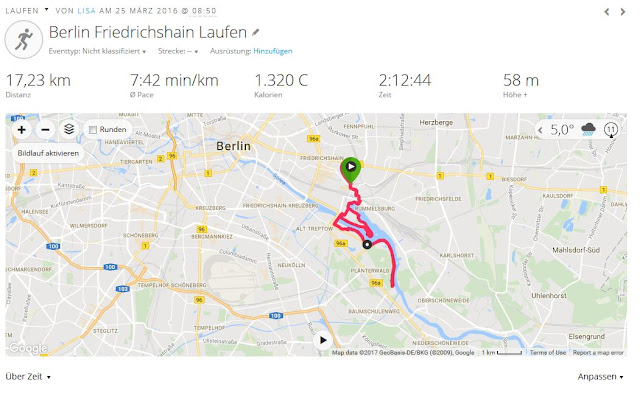 17 km Lauf 2016 Pace 7:42 HF 172