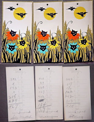 One lot of 3 black cat in the garden with owl vintage paper ephemera