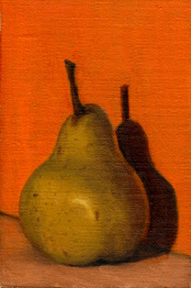 Oil painting of a pear in front of an orange background.