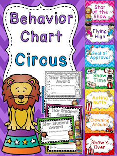Circus behavior chart for circus theme classroom a bunch of other fun behavior clip charts!