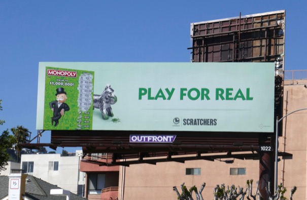 Monopoly Lottery Scratchers dog billboard