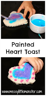 Painted heart toast- a perfect valentines day activity and snack. Perfect for toddlers and preschoolers and older kids