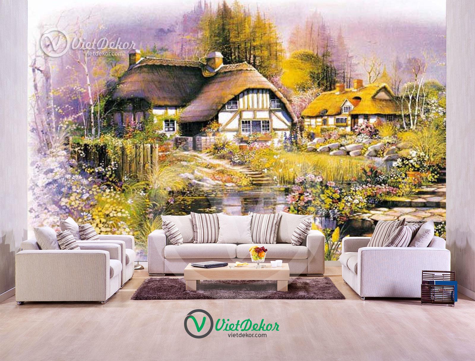 Tranh 3d phong cảnh làng quê