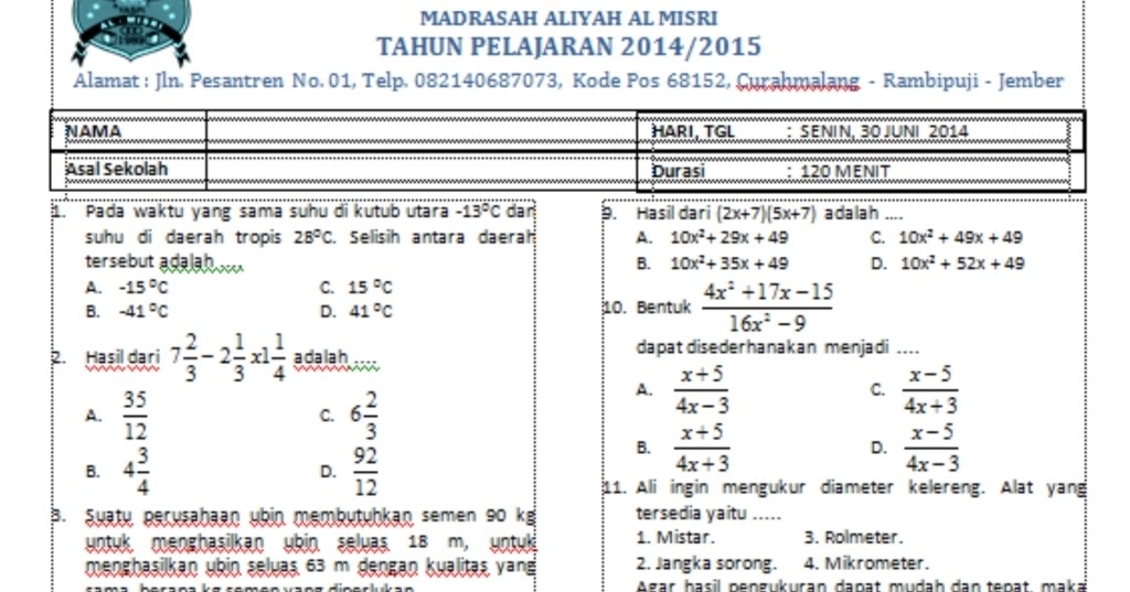 Contoh Soal Dan Contoh Pidato Lengkap Contoh Soal Tes Masuk Madrasah Aliyah Negeri