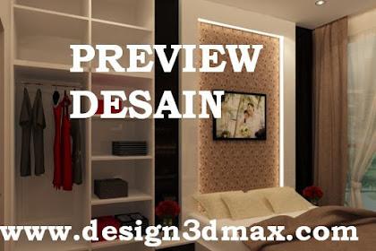 Jasa desain apartemen kamar tidur wallpaper credenza