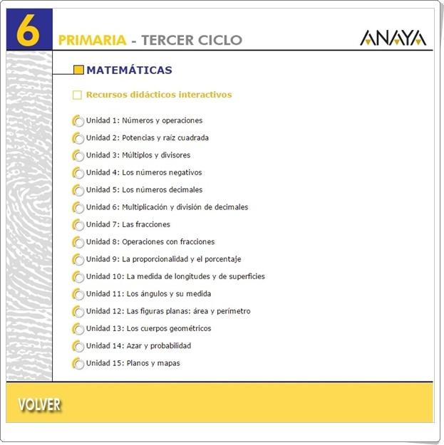 """""""Recursos Didácticos Interactivos Anaya. Matemáticas de 6º de Primaria"""" (Deja huella)"""
