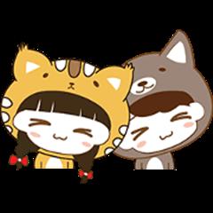 Girl Cat & Boy Dog